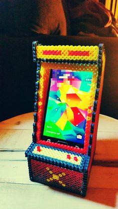 3D Arcade cabinet iPhone holder perler beads by Melonberry Mint - https://www.pinterest.com/pin/374291419010382322/