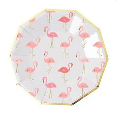 """Get ready to flamingle with these darling pink and gold foil plates! 8 plates per pack Size: 7"""" x 7"""""""