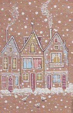 Купить Зимние домики в рамочке с паспарту - белый, бежевый, зима, Снег, домики, город