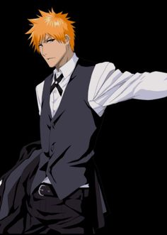 Ok he looks really good in a suit like damn! Ichigo X Orihime, Rukia Bleach, Clorox Bleach, Bleach Manga, Ichigo Kurosaki Wallpaper, Bleach Pictures, Manga Anime, Anime Art, Cartoon Icons