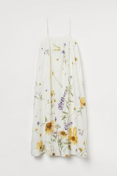 Jurk van linnenmix - Roomwit/bloemen - DAMES   H&M NL 4 Calf Length Dress, Button Front Dress, H&m Gifts, Coton Bio, Textiles, Silhouette, A Line Skirts, Fashion Company, World Of Fashion