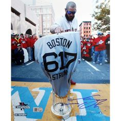 Steiner Jonny Gomes Signed World Series Tropy at Finish Line w/ Boston Strong Jersey 8x10 Photo