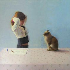 "huariqueje: "" Combing - Alejandra Caballero Spanish, b. Oil on canvas, 80 x 80 cm. Love Art, Photo Art, Art For Kids, Oil On Canvas, Dinosaur Stuffed Animal, Illustration Art, Arts And Crafts, Artsy, Children"