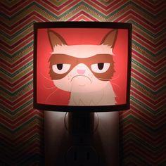 Grumpy Cat Night Light negative adorable art by Kathleen Habbley Cute Nursery Bathroom hallway Bedroom GET IT nightlight Nite Lite, via Etsy. Grump Cat, Cat Lamp, Western Springs, Afraid Of The Dark, Cat Lovers, Geek Stuff, Nursery, Kitty, Crafty