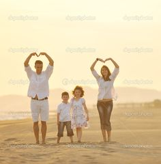 Examples Of Family Beach | Happy young family have fun on beach at sunset | Stock Photo © benis ...