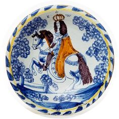 Dish depicting William III, about Museum no. Delft, China Mugs, China Plates, William And Mary, Antique Pottery, World Of Interiors, English Style, Victoria And Albert Museum, Teller