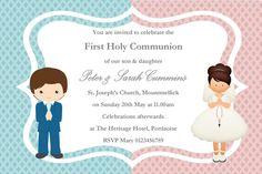 first communion invitation twins digital file twin first