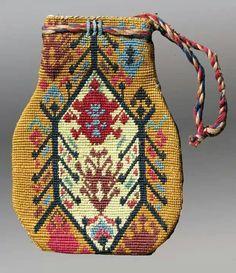 Lakai money bag 19th, silk embroidery