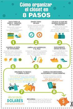 Cómo organizar el closet en 8 pasos fáciles de seguir. Organización en el hogar. Organizar Closets, Konmari Method, H & M Home, Home Hacks, Closet Organization, Organization Ideas, Getting Organized, Housekeeping, Clean House