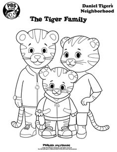 Daniel Tiger's family to color