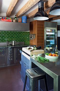 green subway tile, industrial shelving and wood beams Kitchen Pantry, Rustic Kitchen, Kitchen Dining, Kitchen Black, Kitchen Reno, Kitchen Island, Flat Interior, Kitchen Interior, Green Subway Tile