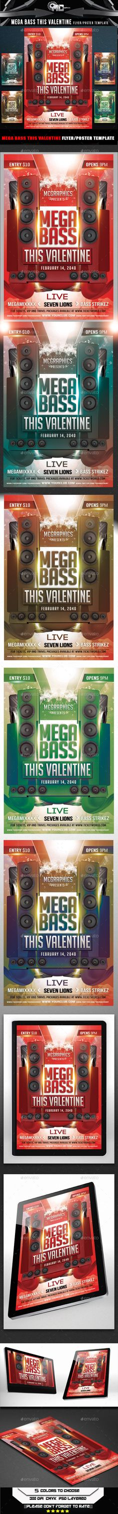 Mega Bass This Valentine Flyer Template — Photoshop PSD #drum  bass #flyer • Available here → https://graphicriver.net/item/mega-bass-this-valentine-flyer-template/6685630?ref=pxcr