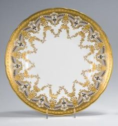 12 Royal Crown Derby Dinner Plates with raised paste gold