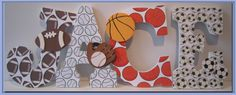 Sports Nursery or Bedroom wall letters Baseball by dmh1414 on Etsy, $12.00