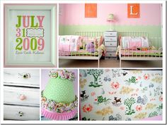 Sweet toddler girl room, for twins.