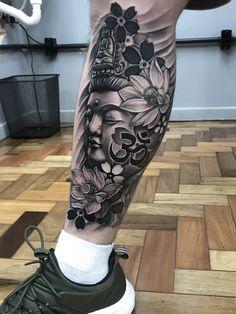 Japanese Leg Tattoo, Japanese Legs, Japanese Sleeve Tattoos, Map Tattoos, Body Tattoos, Flor Oriental Tattoo, Calf Tattoo Men, Bird Tattoo Sleeves, Yogi Tattoo