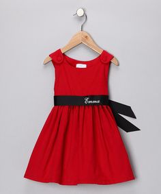 Great for holiday pictures!  Red & Black Personalized Sash Dress - Infant, Toddler & Girls by Princess Linens on #zulily today!   #zulily, #fall