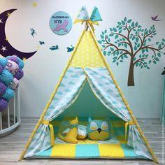 Нежно мятно жёлтый Вигвам . Детский домик.Палатка.Шалаш - купить или заказать в интернет-магазине на Ярмарке Мастеров | Вигвам-это идеальное решение для подарка любимым…