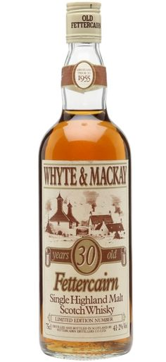 Fettercairn 30 yo Whyte & Mackay Single Highland Malt Scotch whisky distilled prior to 1955 and bottled in the late 80s