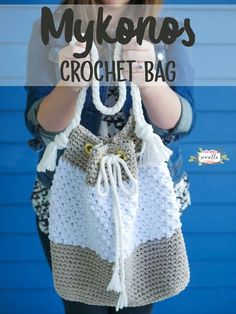 Crochet bag with grommet drawstring