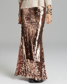 Free People Rose Gold Maxi Skirt {Sequins For Miles}