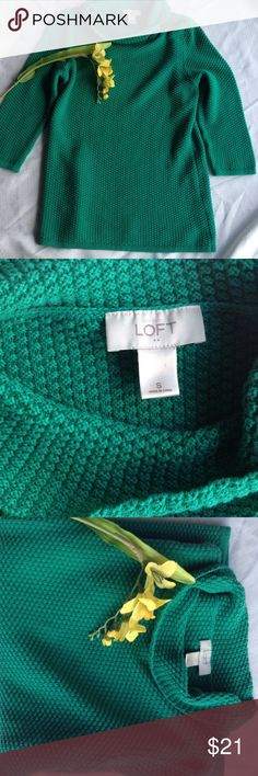 Pretty Green Sweater by Loft Spring Color 2017 Green by Loft. In Very good condition, this pretty sweater is perfect for the cool spring days. Loft Tops Tunics