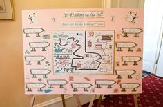 Handmade table plan - map of the bride and grooms home town with table names as their favourite places Handmade Table, Table Names, Table Plans, Grooms, Diy Wedding, Map, Bride, How To Plan, Places