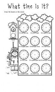 English worksheet: WHAT TIME IS IT? Exercises and Craft