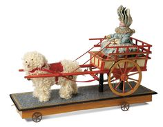 """French Luxury Pull-Toy """"Little Girl with Dog Cart"""" 3500/4500"""