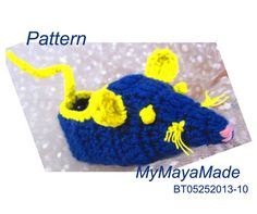 Crochet Pattern  Blue Rat Crochet Baby Booties PDF by MyMayaMade, $5.99