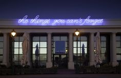 From Tim Etchells' public work 'Winter Piece' sees two neon signs illuminate the façade of The Winter Gardens Pavilion, Weston-super-Mare Neon Words, Weston Super Mare, Garden Pavilion, Glitter Art, Japanese Characters, 3d Character, Deconstruction, Neon Lighting, Winter Garden