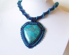 Beadwork Bead Embroidery Pendant Necklace with Blue Leopard Skin Jasper - BLUE DAY - Stylish necklace - blue - irridescent