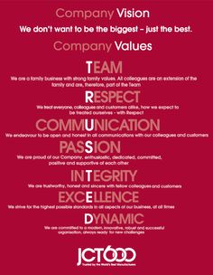 At JCT600 our vision and values lie at the heart of everything the company does ... http://www.jct600.co.uk/about-jct600/vision-values/