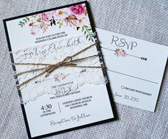 Lace Wedding Invitation, Floral Wedding Invitation, Floral Watercolour, Boho Wedding Invitation, Vintage Wedding invitation, Modern, The perfect