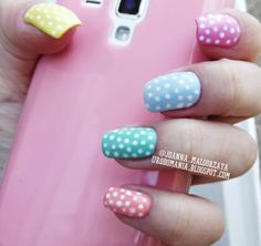 dots pastel nails #nails #nailsart #pastelnails #dotsnails #dots #springnails