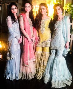 from - to when these beautiful girls wore IVY Formals! OrderToday by lalgulabi Pakistani Wedding Outfits, Pakistani Bridal, Pakistani Dresses, Sharara Designs, Indian Bridesmaid Dresses, Bridal Dresses, Weeding Dresses, Bridal Outfits, Indian Fashion Dresses