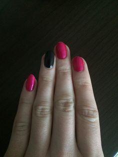 Pink black almond nails
