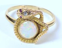 Art Nouveau Snake Ring With Opal