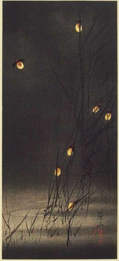 hanga gallery . . . torii gallery: Fireflies in Reeds (pre-earthquake) by Ito Sozan