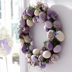 Purple and lilac Easter egg wreath.