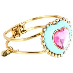 Betsey Johnson Candylane Toc Heart Candy Hinged Bracelet ($65) ❤ liked on Polyvore