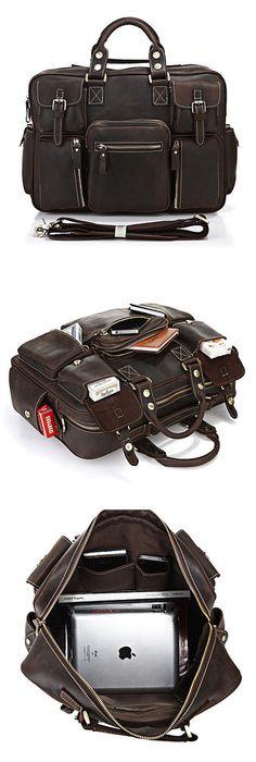 Image of Vintage Handmade Genuine Crazy Horse Leather Business Travel Bag /Duffle bag/Luggage Bag(2)