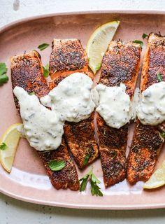 Blackened Pan Seared Salmon with Tartar Sauce - The Defined Dish Salmon Recipe Pan, Baked Salmon Recipes, Fish Recipes, Seafood Recipes, Gourmet Recipes, Cooking Recipes, Dinner Recipes, Freezer Recipes, Gourmet Desserts