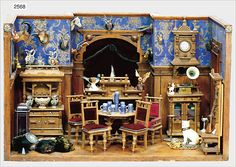 Antique Dollhouse, Dollhouse Dolls, Dollhouse Miniatures, Vitrine Miniature, Miniature Rooms, Victorian Dolls, Antique Dolls, Market Stands, Tiny World