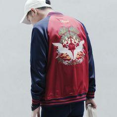 Mens embroidered bomber jacket autumn wear crane jacket coat xxxl