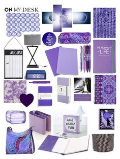 """Purple Desk"" by taci42 ❤ liked on Polyvore featuring interior, interiors, interior design, home, home decor, interior decorating, Moleskine, Happy Jackson, Vera Bradley and B-Line"