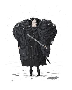 a funny Jon Snow of Game of Thrones. (They even got the hilt on Longclaw there, though it kind of looks like a bunny in this rendering...)