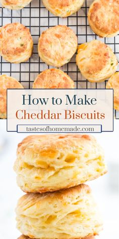 Tender and flakey homemade cheddar chive biscuits. Easy to make with simple ingredients and ready in about 35 minutes. Cheese Buns, Cheese Scones, Cheese Biscuits, Cheddar Cheese Biscuit Recipe, Cheddar Cheese Powder, Keto Biscuits, Homemade Cheese, Recipe For Homemade Biscuits, Homemade Breads