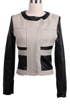 Apricot Contrast PU Leather Sleeve Crop Coat - Sheinside.com Hot Outfits d73f6de97aea