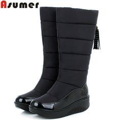 ASUMER 2016 baru musim dingin hangat sepatu salju platform bulu fashion kapas sepatu tumit datar lutut sepatu bot tinggi wanita pu kulit boots